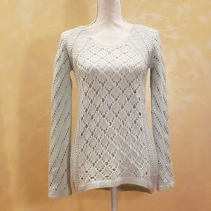Max Studio Seafoam Green Crochet Sweater